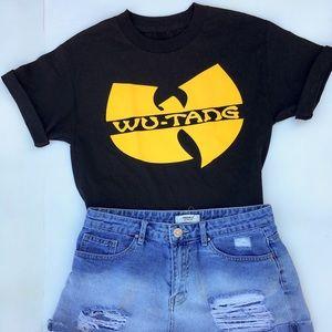 black and yellow wu-tang T-shirt